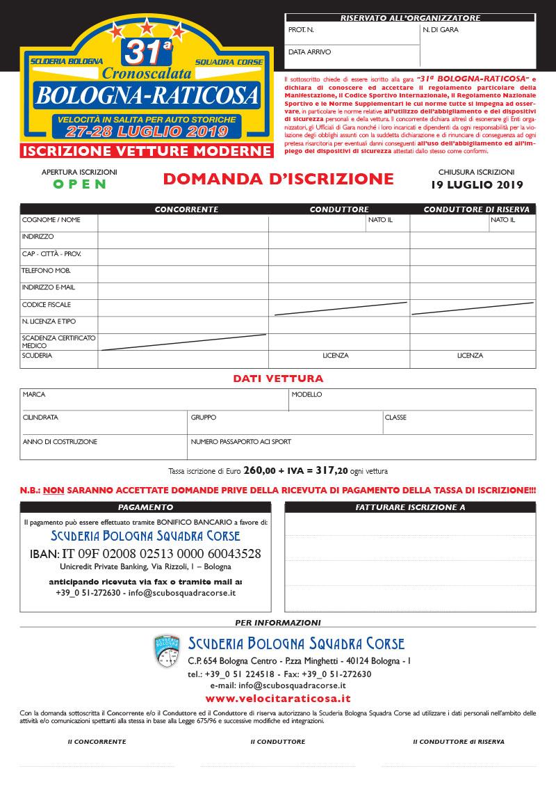31a Bologna - Raticosa, 27-28 Luglio 2019: Domanda d'iscrizione