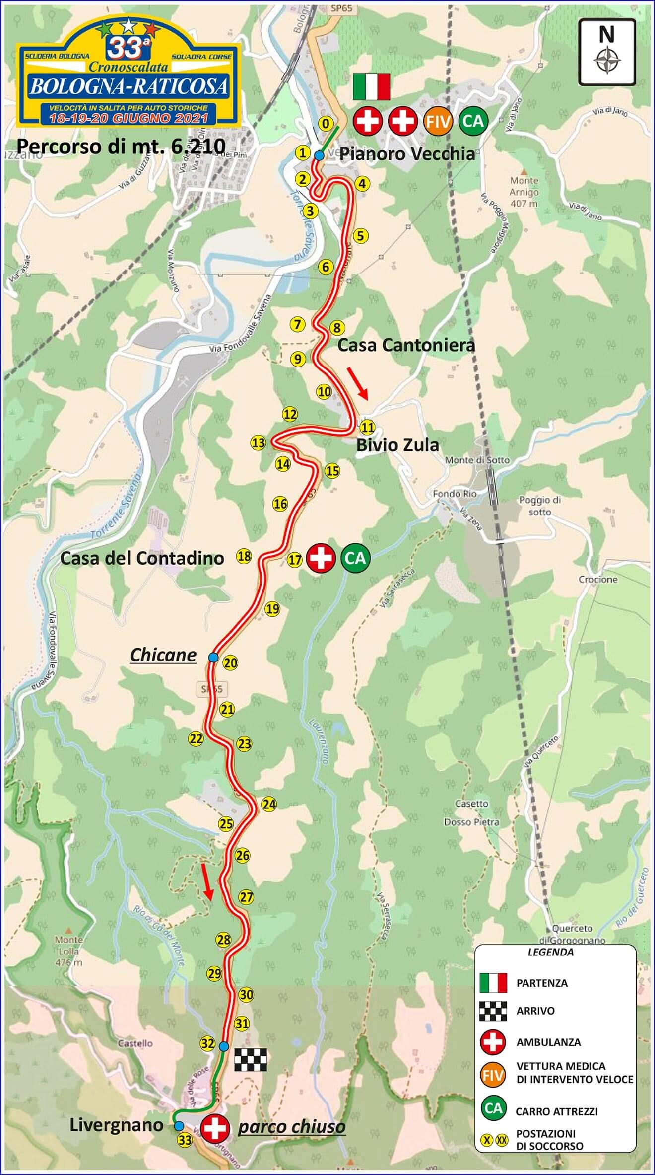 Mappa percorso 33a Bologna Raticosa 2021