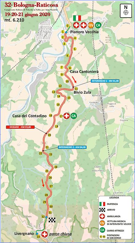 Percorso 31a cronoscalata per auto storiche Bologna - Passo della Raticosa